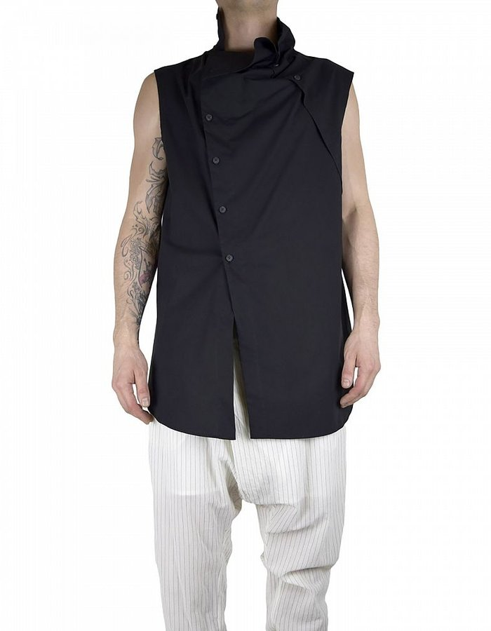 LOST AND FOUND HIGH COLLAR SHIRT: BLK