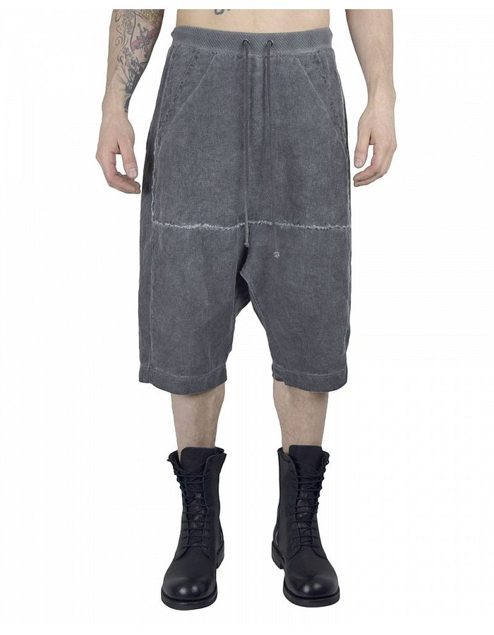 LOST AND FOUND ROOMS LINEN SHORTS :COLD BLK