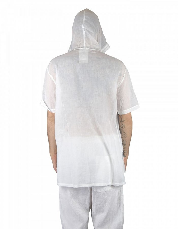 LOST AND FOUND ROOMS SUPERFINE COTTON HOODED TOP WHITE
