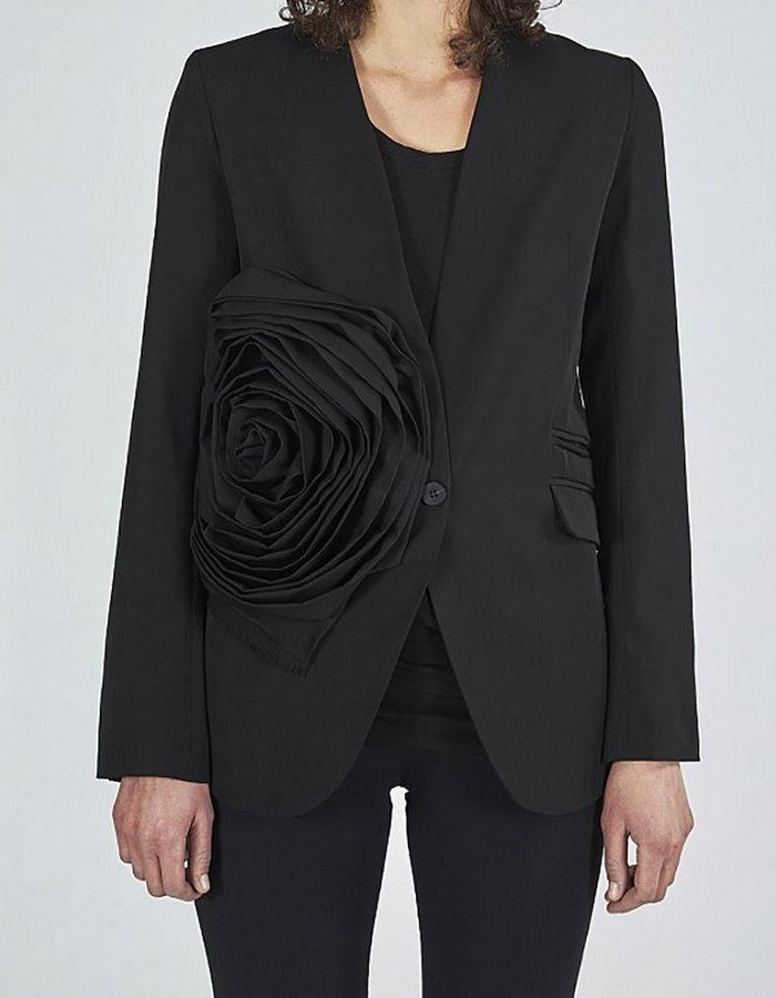 ISABEL BENENATO LIGHT WOOL JACKET WITH FLOWER APPLICATION