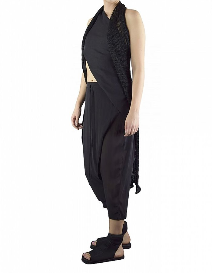 ISABEL BENENATO SLEEVELESS ASYMMETRIC KNIT LONG VEST WITH STICK BUTTON :BLK