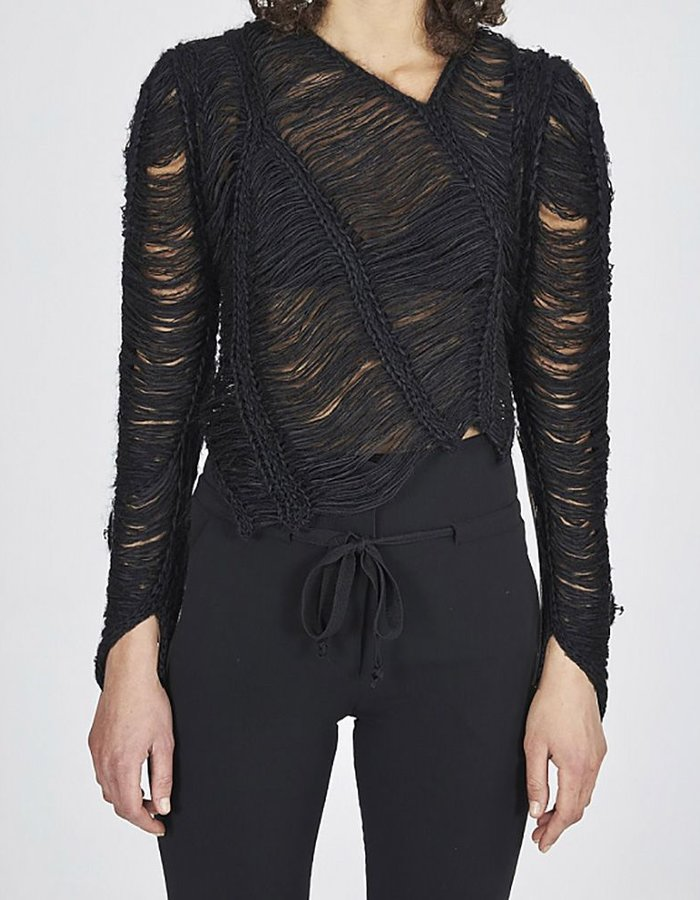 ISABEL BENENATO KNITTED TRIBAL SWEATER BLK