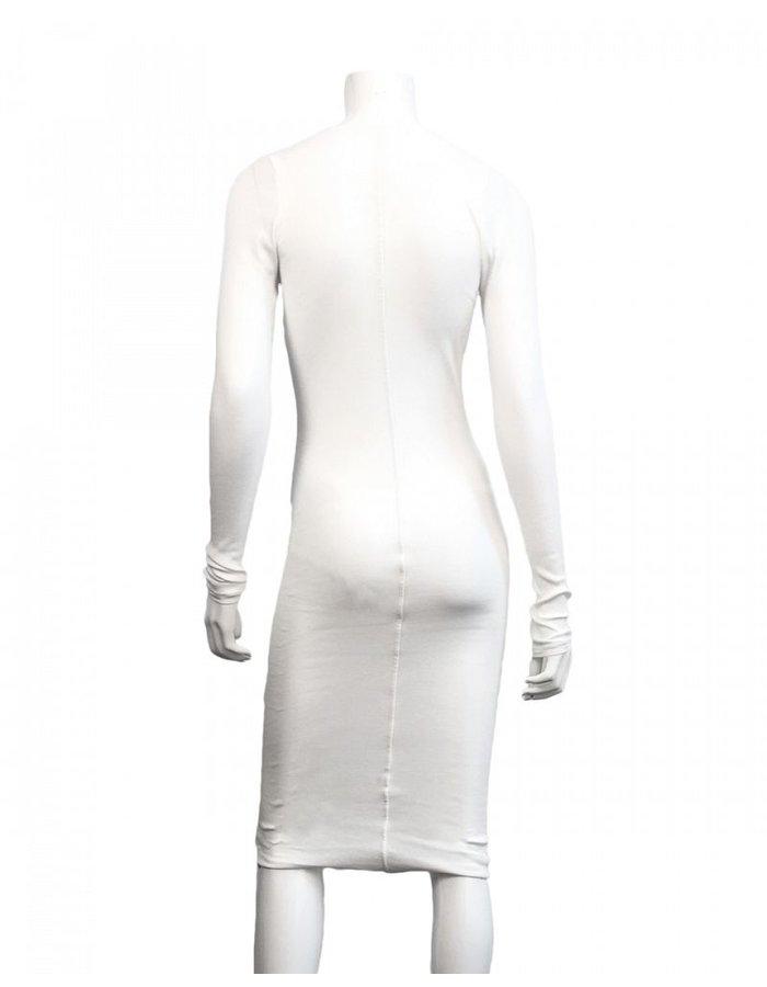 ISABEL BENENATO RIB LONG SLEEVE V NECK DRESS - WHITE