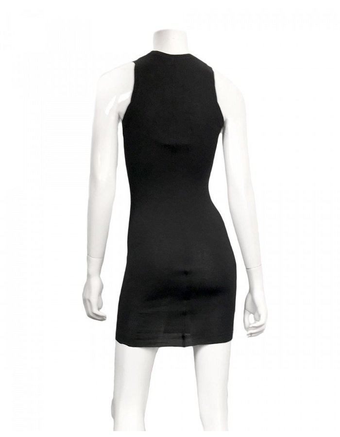 ISABEL BENENATO RIBBED SHORT TANK DRESS / TUNIC- BLACK