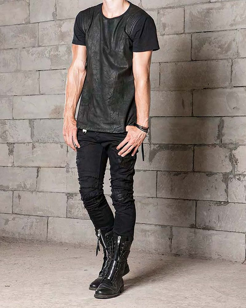 CHROMOSOME LEATHER FRONT TEE