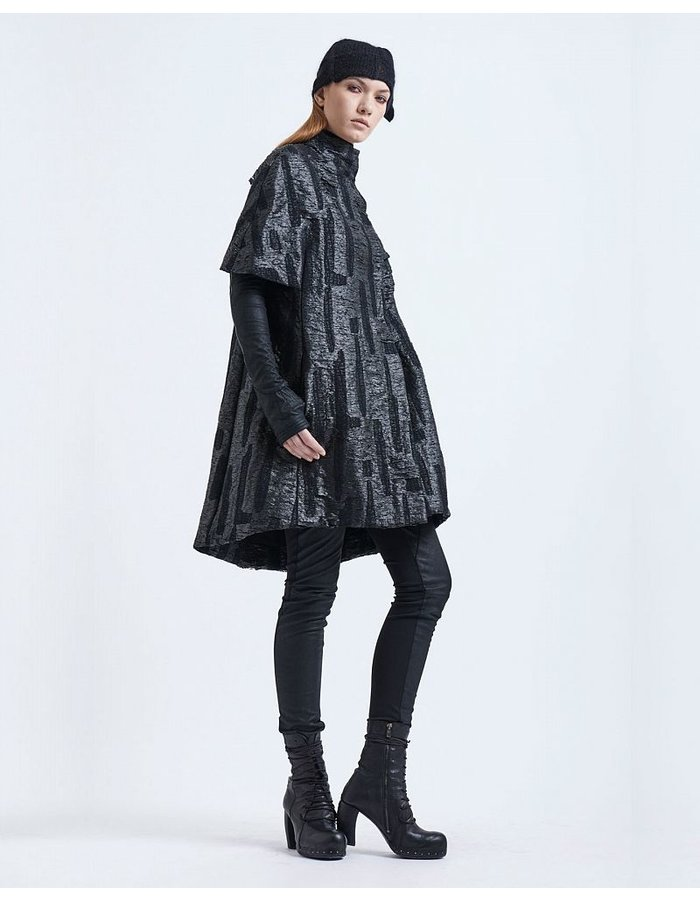 MASNADA TEXTURED BROCADE CAPE WITH SLEEVES BLK