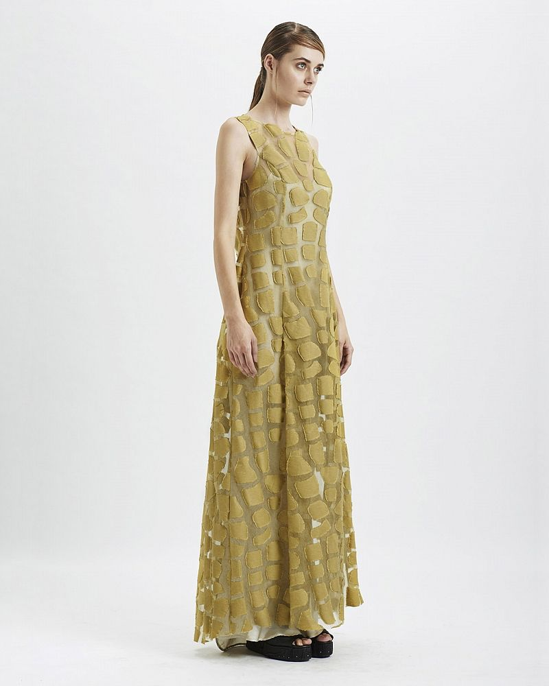 TORTOISE CARAPACE LONG DRESS :SULPHUR
