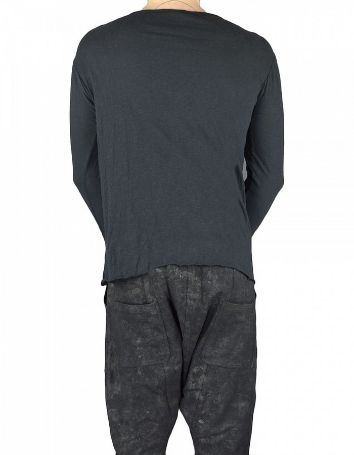 SANDRINE PHILIPPE 3/4 SLEEVE TEE WITH HAND CUT LEATHER PANELS