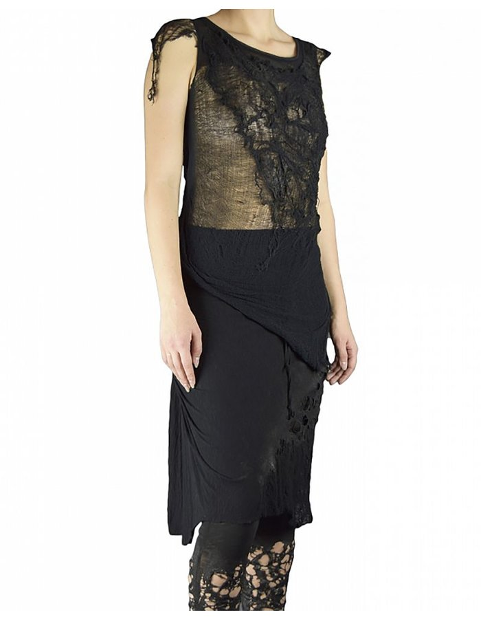 SANDRINE PHILIPPE DECONSTRUCTED EMBROIDERED TOP