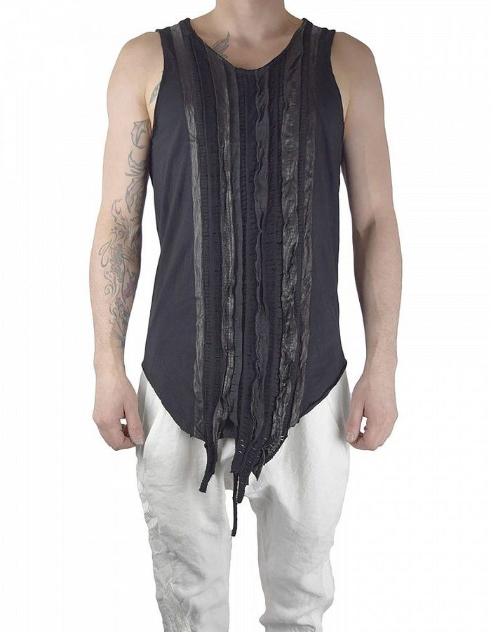 SANDRINE PHILIPPE TANK TOP WITH LEATHER WOVEN BAND