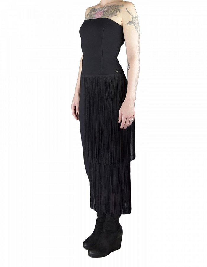 NOSTRA SANTISSIMA BUSTIER DRESS WITH FRINGE