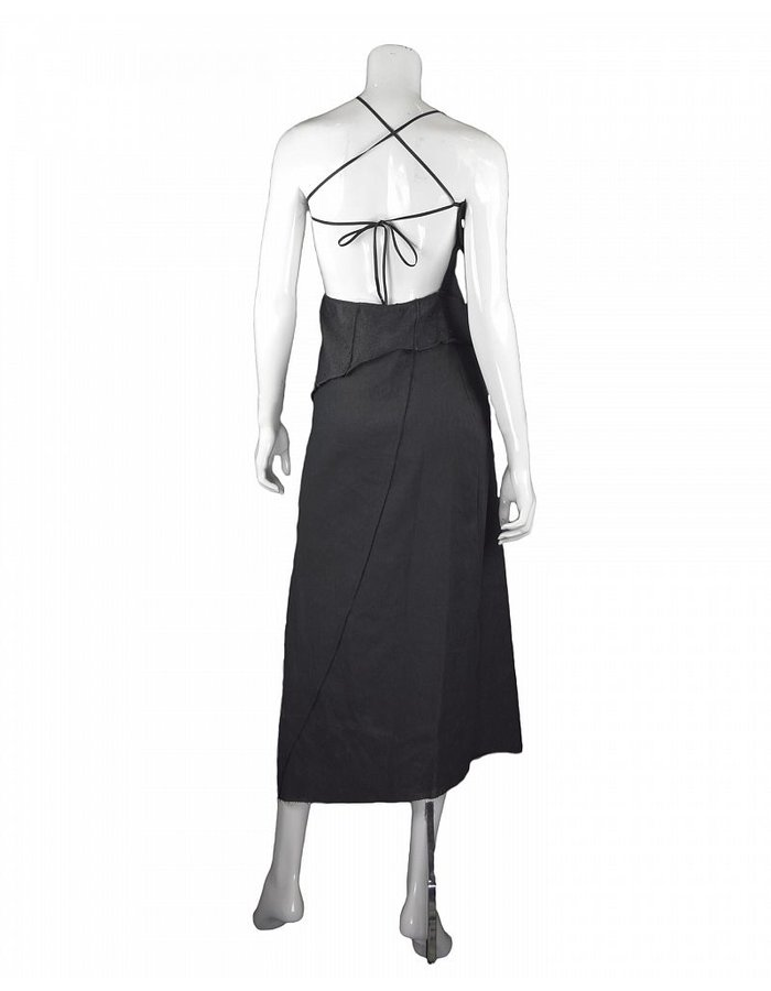 NOSTRA SANTISSIMA LINEN COTTON & LEATHER HALTER NECK LONG DRESS