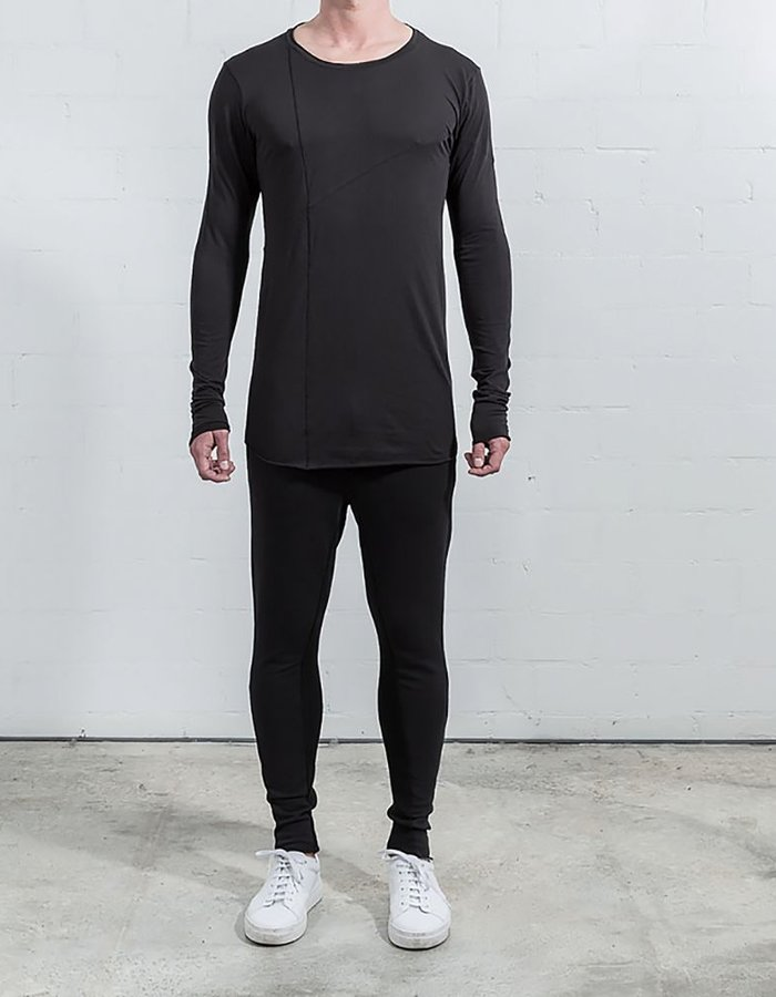 THOM KROM BASIC LONG SLEEVE WITH SEAMS BLK