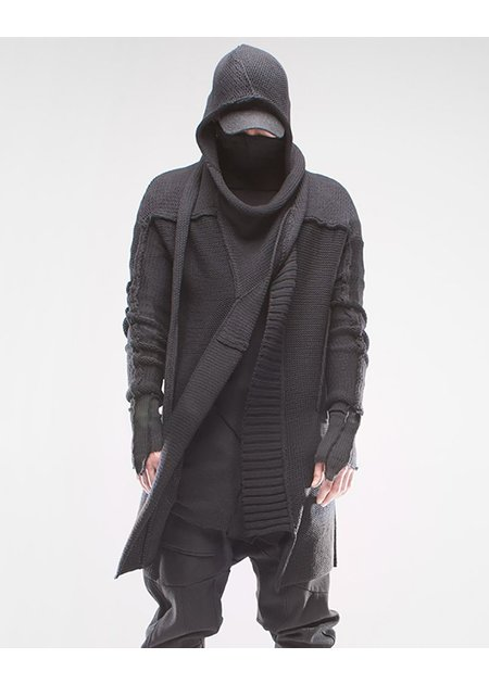 DEMOBAZA CARDIGAN HOOD RECONNECT BLACK