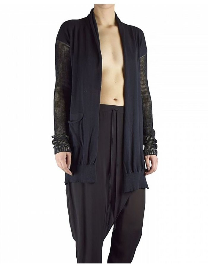 LOST AND FOUND ROOMS TWO POCKET CARDIGAN :BLK