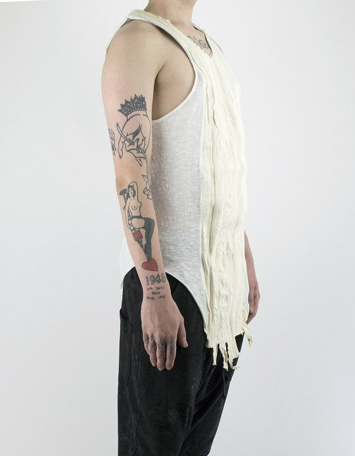 SANDRINE PHILIPPE COTTON AND LEATHER STRIPS TANK TOP