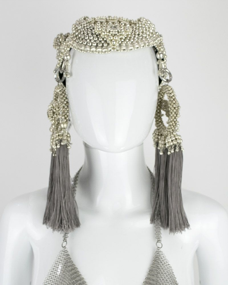 ANAIS HEADPIECE W GREY TASSEL MOONS