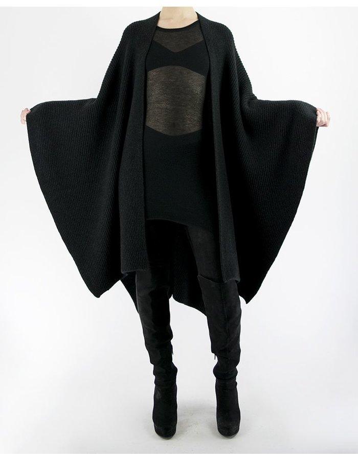 ISABEL BENENATO FULL CARDI RIB KNIT CAPE BLACK