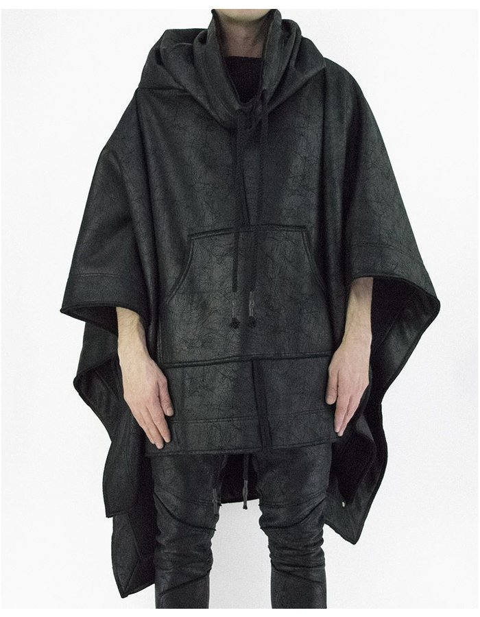 DAVID'S ROAD SWEATSHIRT PONCHO WITH LEATHER EFFECT