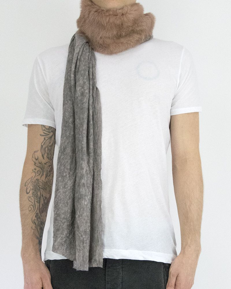URONI RABBIT AND AND SILK MODAL SCARF - BLK