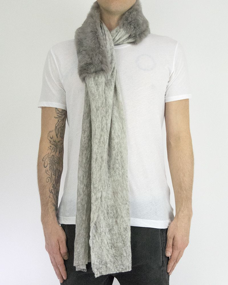 URONI RABBIT AND AND SILK MODAL SCARF - GREY