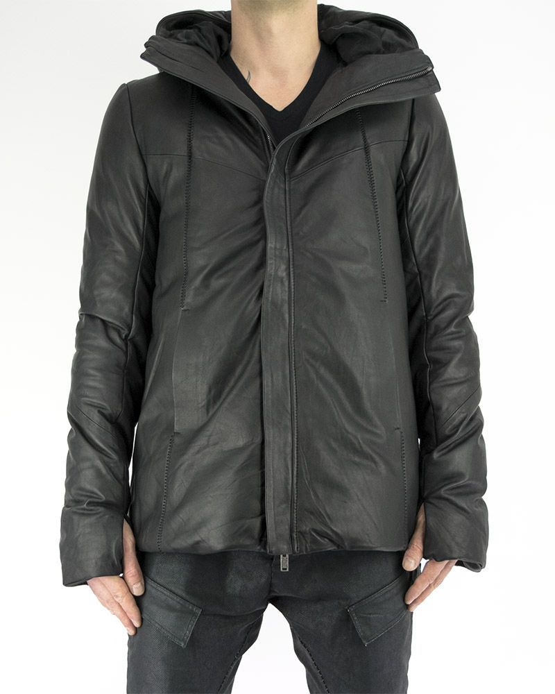 LEATHER DOWN DOUBLE HOODED JACKET