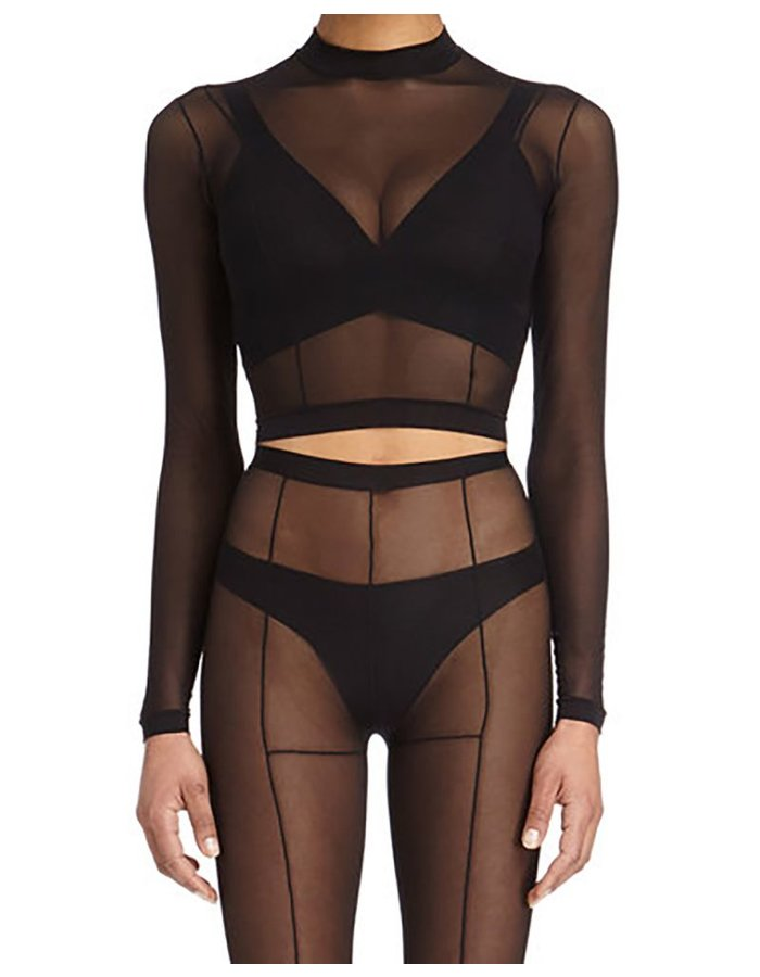 DSTM SEVER LONG SLEEVE SHEER TOP