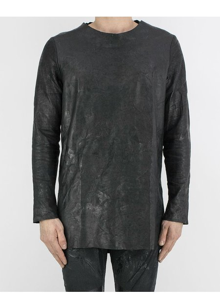 M-OJO RISIN' LONG SLEEVE LEATHER T-SHIRT - BURRO