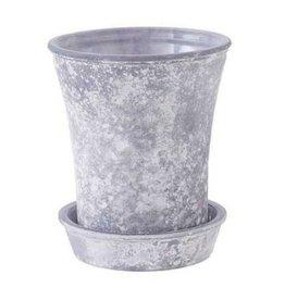 Frosty Gray Glass Flower Pot