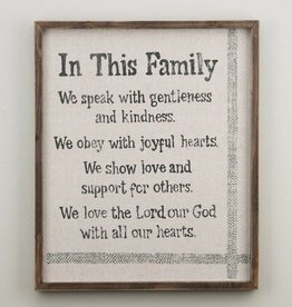 In This Family Framed Sign on Fabric
