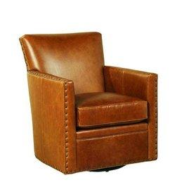 Logan Swivel Leather Chair - Coffee