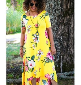 Myesper Apparel Yellow Floral High Low Dress