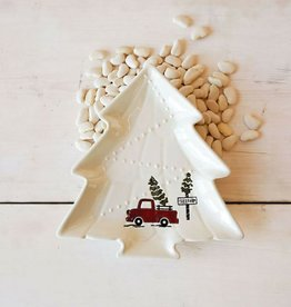 Tree Shaped Plate With Red Vintage Truck