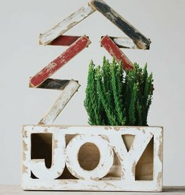 """Distressed Wood """"Joy"""" Container With Tree"""