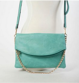Flapover Crossbody Purse With Chain