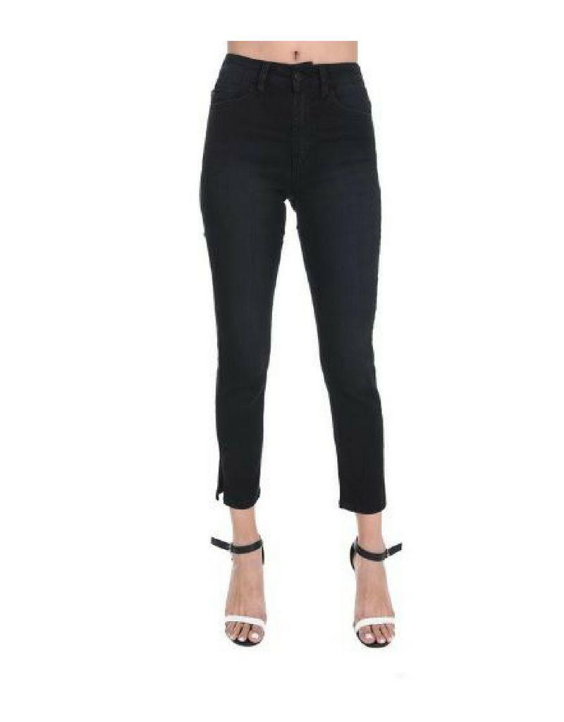 High Waist Slim Straight Crop Jeans