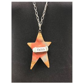 "Boho Metal Prim Star ""Faith"" Necklace"