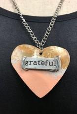 "Boho Metal Wide Heart ""Grateful"" Necklace"