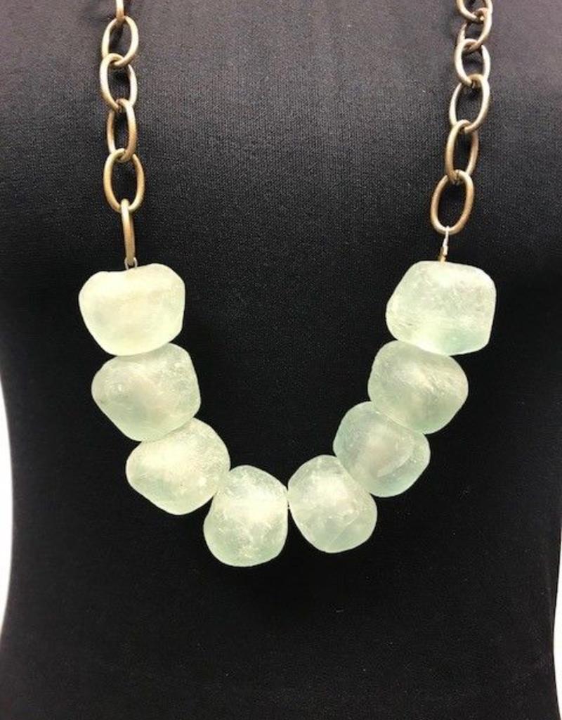 Large Clear Stone Necklace  - Asst Colors
