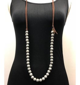 Multi-Bead Double Leather Strand Necklace - Asst Colors
