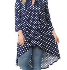 Nadia Polka Dot 3/4 Sleeve High Low Top