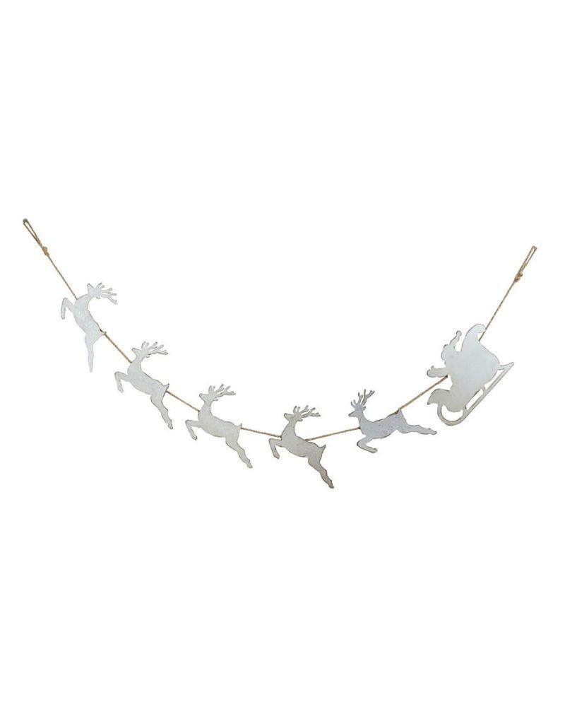 Tin Santa's Sleigh and Reindeer Garland