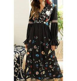 Black Floral Tie Sleeve Dress