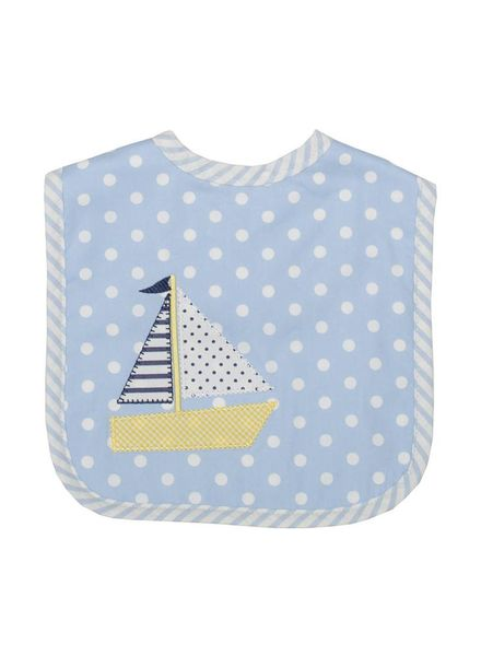 3 Marthas Blue Sailboat Feeding Bib