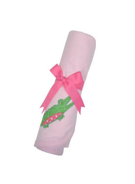 3 Marthas Pink Alligator Receiving Blanket