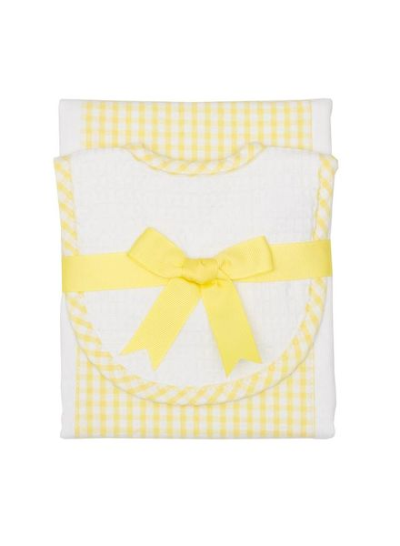 3 Marthas Yellow Gingham Drooler Bib & Burp Set