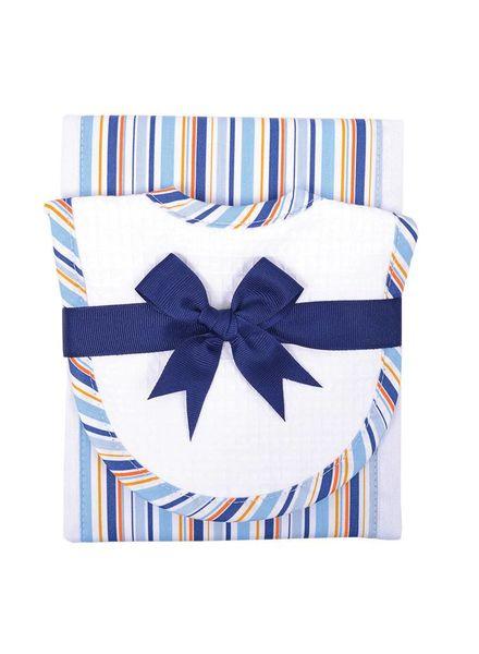 3 Marthas Blue Stripe Burp Cloth Drooler Set