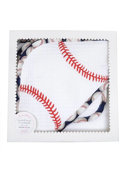 3 Marthas Baseball Applique Hooded Towel