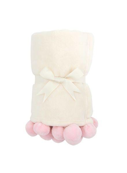 Elegant Baby Pink Pom Pom Blanket