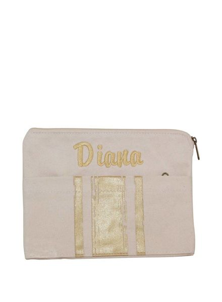 CB Station Metallic Gold Brushed Canvas Clutch